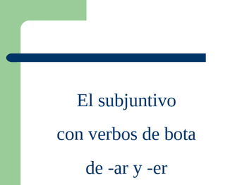 Power Point White Board Practice  Subjunctive Boot verb Conjugation