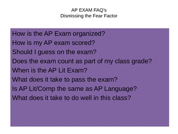 Power Point for AP/Lit FAQ's