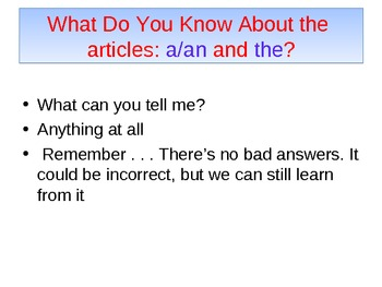 Power Point for Articles a/an and the