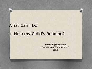 Power Point for Back to School Parent Night Session
