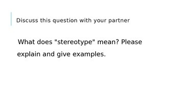 Power Point for explaining stereotyping