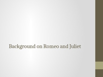 Power Point on How to Read Shakespeare and Character Intro of Romeo and Juliet