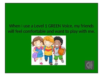 Social Story Power Point with Audio  for  Voice at School