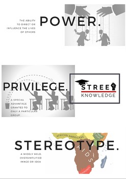 Power, Privilege, Stereotype - Word Wall/Vocabulary