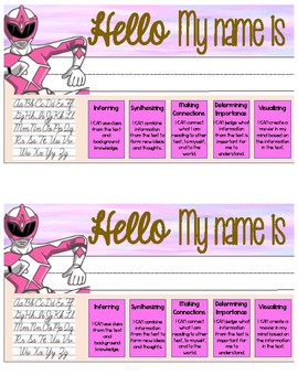 Power Ranger Name Tags for ELA (Grades 3-5) FREEBIE