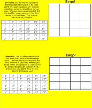 8.EE.A.1 Power Rules Smartboard Bingo