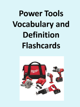 Power Tools Picture, Vocabulary, and Definition Flashcards