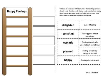 Power Up! Vocabulary Ladders with Writing- Happy Feelings - Week 1/Week 2