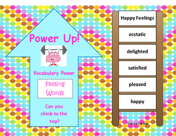 Power Up! Vocabulary Ladders with Writing- Happy Feelings