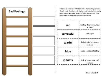 Power Up! Vocabulary Ladders with Writing - Sad Feelings - Week 3/Week 4