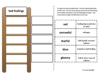 Power Up! Vocabulary Ladders with Writing - Sad Feelings - Week 3/Week 4
