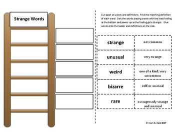 Power Up! Vocabulary Ladders with Writing - Strange Words - Week 9/Week 10