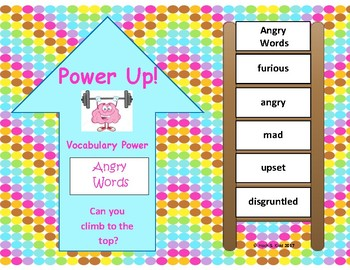 Power Up! Vocabulary Words with Writing - Angry Words - Week 25/Week 26