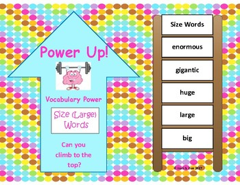 Power Up! Vocabulary Words with Writing - Size Words - Week 21/Week 22