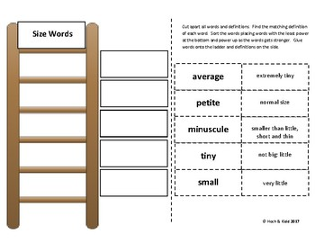 Power Up! Vocabulary Words with Writing - Size Words - Week 11/ Week 12