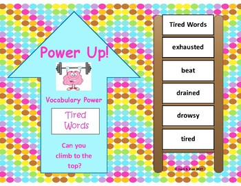 Power Up!  Vocabulary Words with Writing - Tired Words - Week 17/Week 18