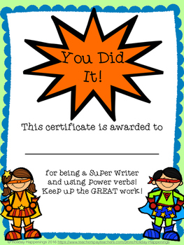 Writing Notebook: Super Heroes to the Rescue~Power Verbs!