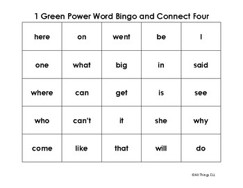 Power Word Bing and Connect Four - 1 Green
