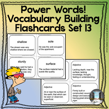 Power Words Vocabulary Building Flashcards and Word Wall Set 13