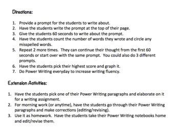 Power Writing for Fluency