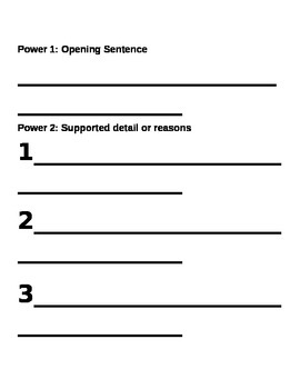 Power Writing, paragraph writing template and rubric