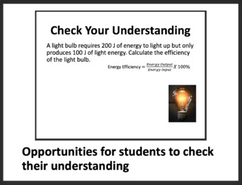 Power, Electrical Energy and Efficiency - PowerPoint Lesson & Student Notes