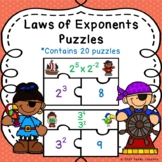 Power and Exponent Rules Laws of Exponents Activity Puzzles 8th Grade Math Game