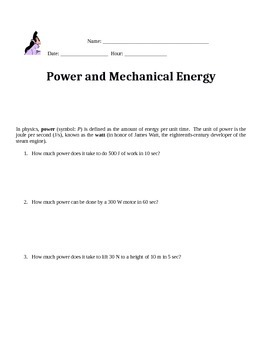 Power and Mechanical Energy w/s