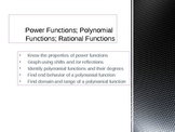 Power and Polynomial Functions