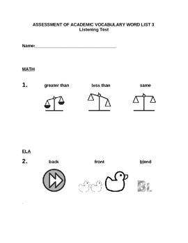 Power in Words:  Common Core Academic Vocabulary Assessment Book (Kindergarten)