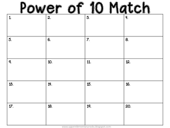 Power of 10 Matching Task Cards
