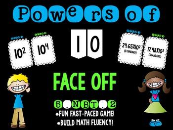 Powers of 10 Math Face Off 5.NBT.2