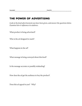 Power of Advertising Activity Handout