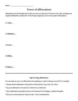 Power of Affirmations: Positive Self-Talk worksheet | TpT