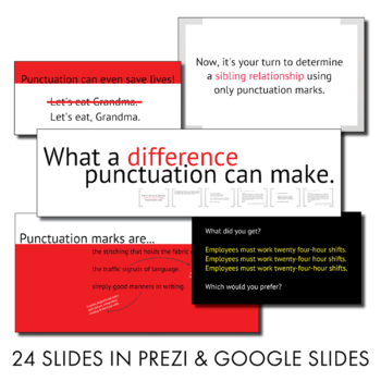 Punctuation Lecture & Editing Handout, Fun Punctuation Grammar Activity, CCSS