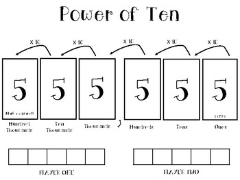 Power of Ten Place Value Game TEKS 3.2B and 4.2A