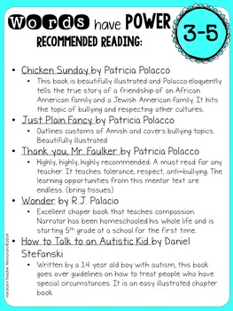 Power of Words FREEBIE Bulletin Board Creative Activity Booklist Tolerance