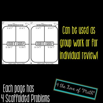 Power of a Power and Power of a Product Round Robin Bell Ringer/Exit Tickets