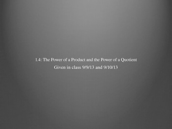Exponents - Power of a Product and Power of a Quotient