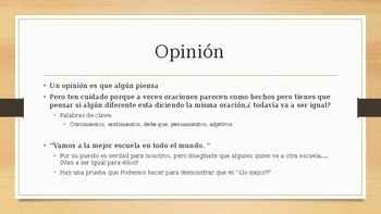 Power point Hechos y opinions / facts and opinion spanish