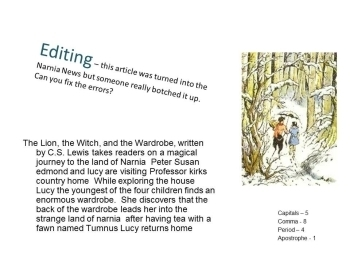 Power point: Lion, Witch and Wardrobe novel study