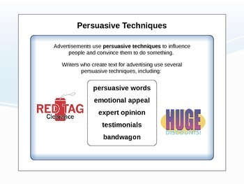 Power point: Persuasive Techniques in Reading and Writing
