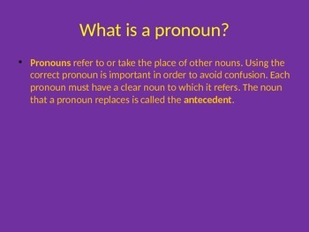 Power point: Pronoun- Antecedent Agreement