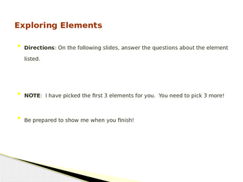 Power-point template for exploring elements