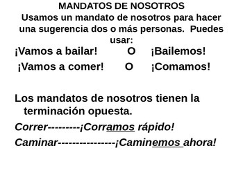 Power point to go over guided notes for mandatos de nosotros