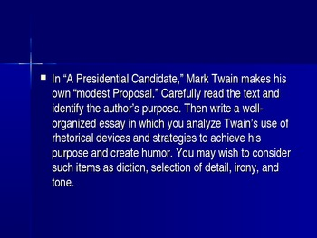 """PowerPOint on Deconstructing Prompts Mark Twain's """"A Presidential Candidate"""""""