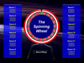 PowerPoint 12 Player Spinning Wheel and Scoreboard