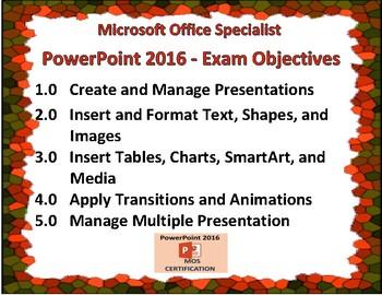 PowerPoint 2016 Exam Prep Poster