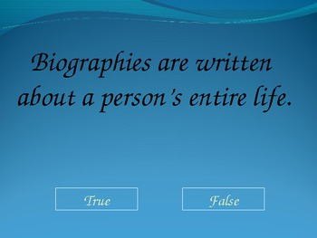 PowerPoint - Biography, Autobiography, Memoir Jeopardy Review