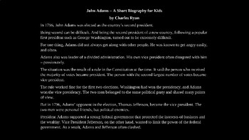 John Adams PowerPoint Biography with Review Quiz